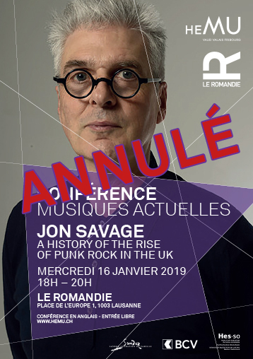Conférence musiques actuelles : Jon Savage -  A History of the Rise of Punk Rock in the UK